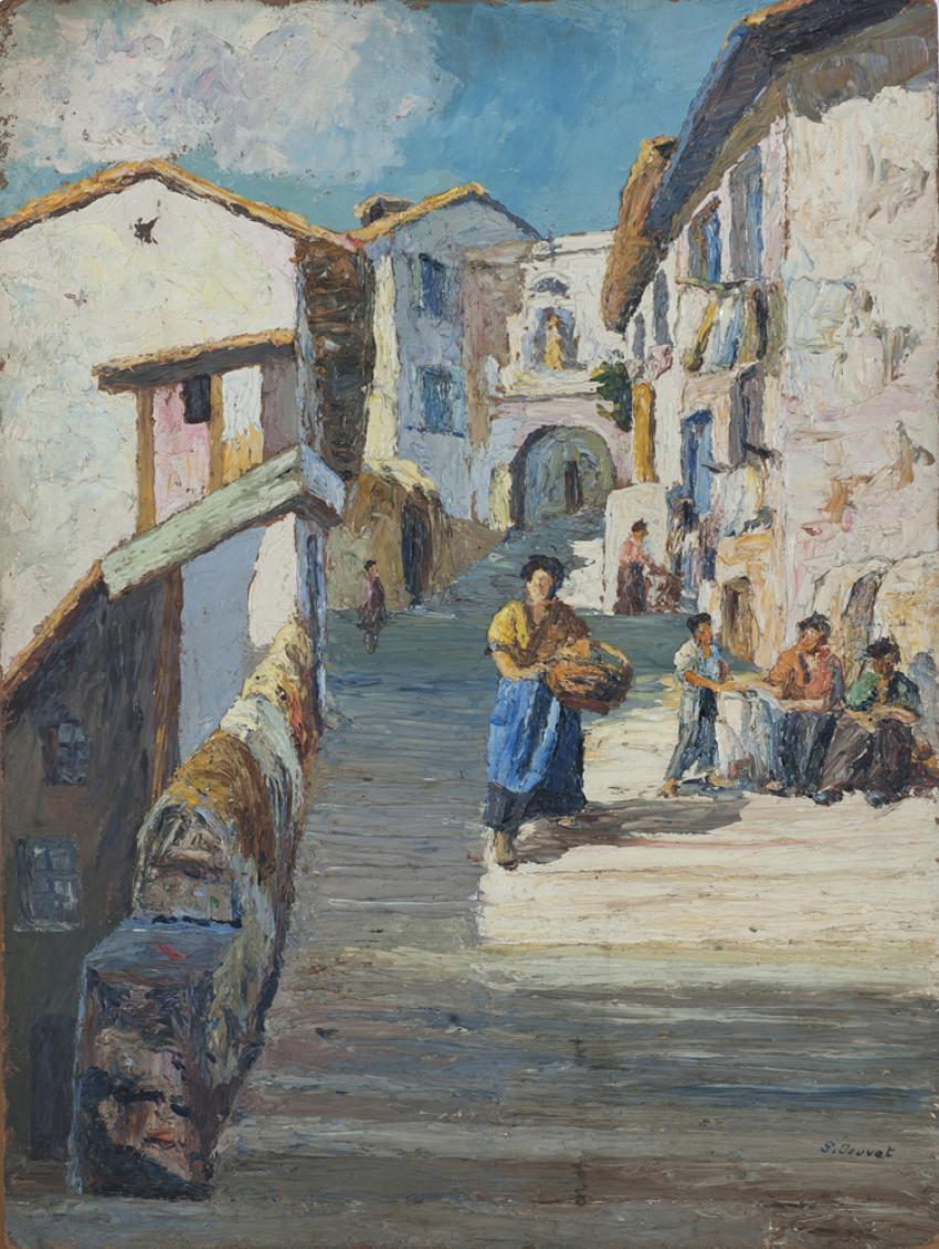 """Paul JOUVET 1936 """"Montée Chalemont"""" Huile sur carton Collection Musée Dauphinois"""
